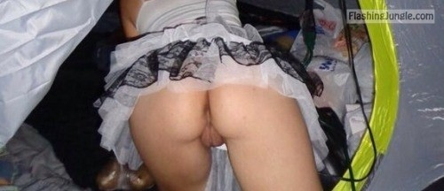 hottysjourney: You said camping…? upskirt no panties ass flash
