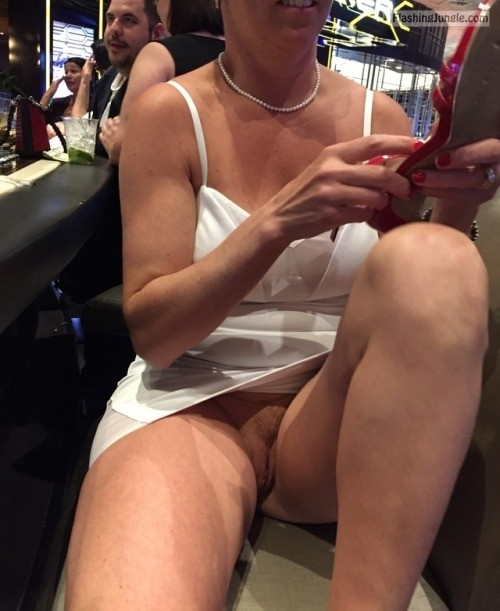 Bartober @licky999 upskirt pussy flash public flashing no panties howife