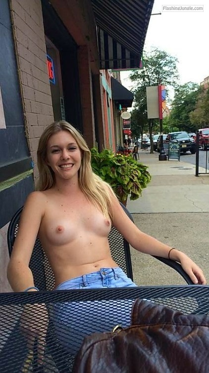 Brave milf flashing in public