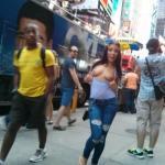 nudeandnaughtyflashing: Adriana Chechik flashing in NYC