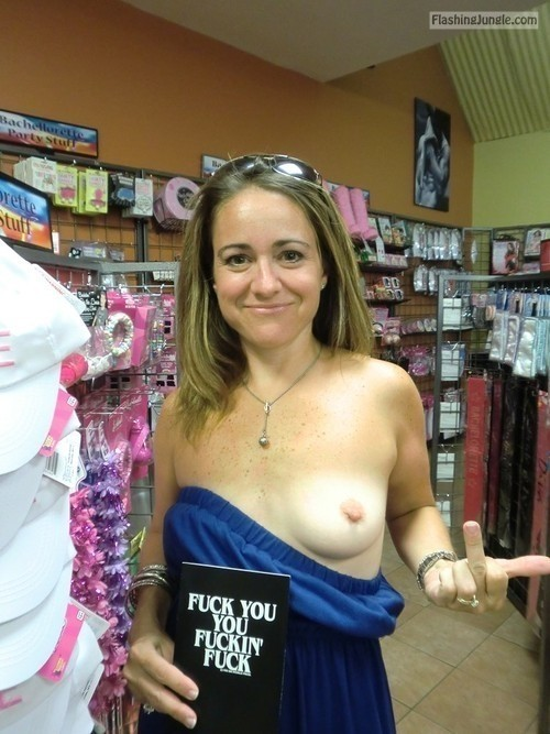 Milf flashing in public