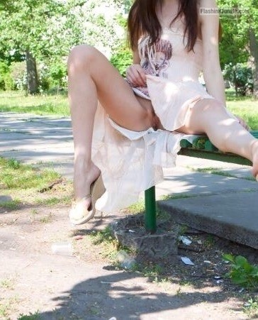 hottysjourney: At the park.. upskirt pussy flash no panties