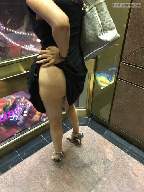 My Hotwife @hotwifeyshare showing off in the Elevator Thanks... public flashing no panties