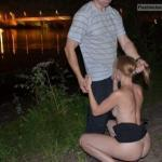 Slut wife riverbank public blowjob