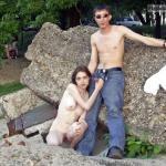 Teenage couple handjob