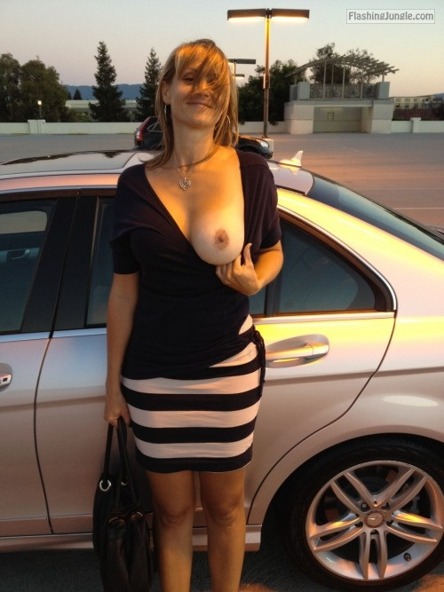 My wife juicy big boob out car parking public flashing milf pics boobs flash