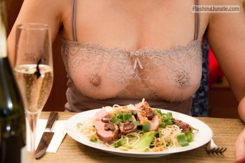 Slut wifes outfit when goes for a dinner public flashing milf pics howife boobs flash