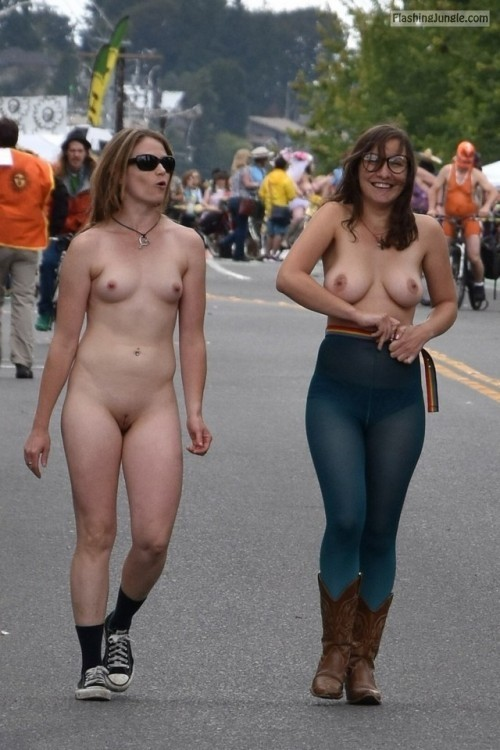 Two sluts street walk public nudity