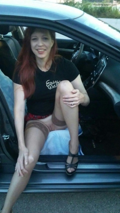 Wife in stockings at the gas station. # stockings wife #redhead... no panties