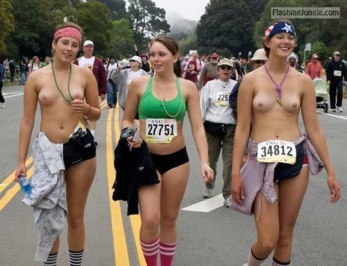 Topless girls flashing