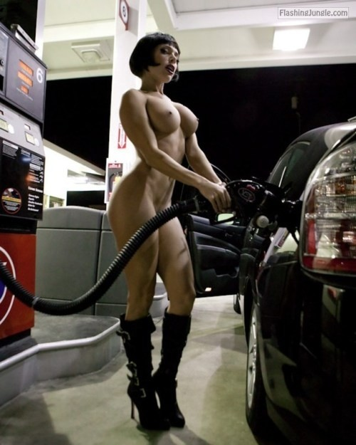 Muscular dark hair huge boobs gas filling public nudity
