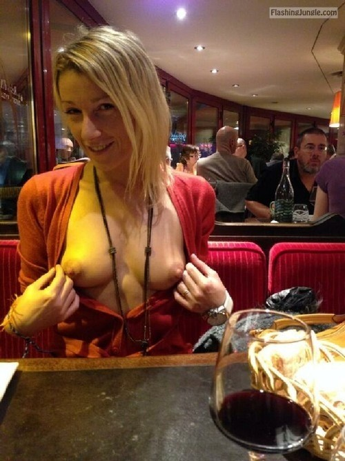 Hot blonde no bra in restaurant public flashing howife boobs flash