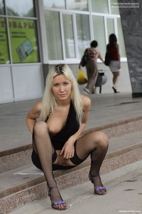 Blonde slut on boob out upskirt pussy flash public flashing no panties boobs flash ass flash