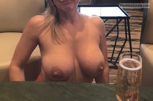 Busty topless Flashing big nipples husband at happy hour milf pics howife boobs flash