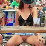 Daylight party: Cowgirl caught pantyless under the table