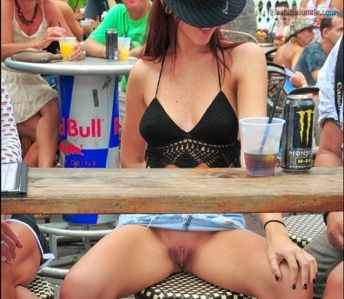 Daylight party: Cowgirl caught pantyless under the table voyeur upskirt pussy flash public flashing no panties