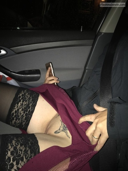 Girl car upskirt no panties have