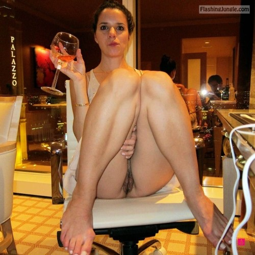 Brunette wife legs up drinking wine pantyless palazzo restaurant upskirt pussy flash public flashing no panties milf pics bitch
