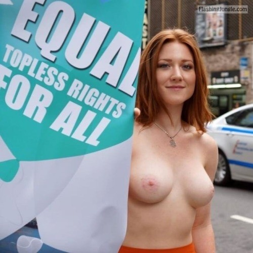 Cute redhead topless rights protest boobs flash