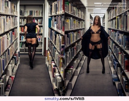 Sexy black underwear library no panties bitch