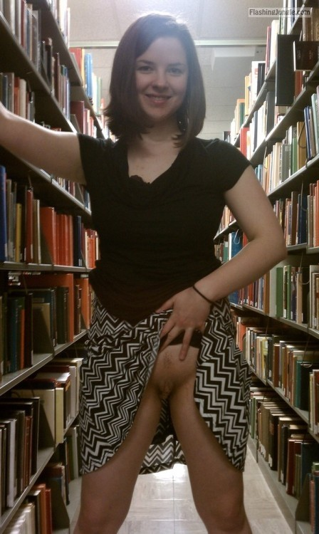 Conservative girl destroying stereotypes in lybrary upskirt pussy flash public flashing no panties