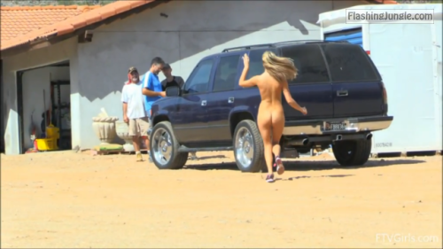 Walking naked toward off road vehicle voyeur public nudity