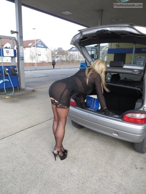 French hotwife black mini dress stockings at gas station upskirt milf pics howife