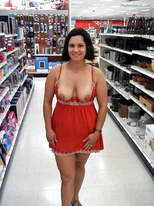 Asian exhibitionist grocery store flash 15