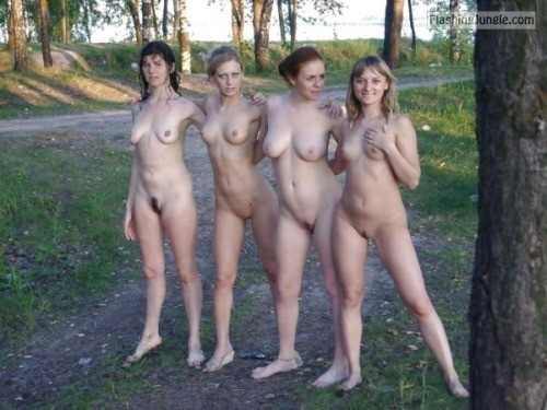 Four college sluts naked in the wood public nudity