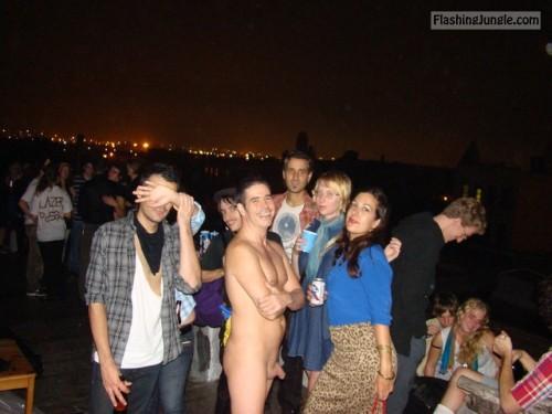 Taking photo with naked guy public nudity