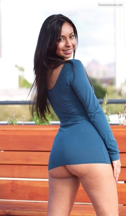 Dark girl juicy ass navy blue mini dress upskirt no panties