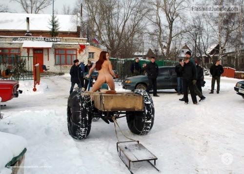 Russian dark haired slut wintertime public nudity