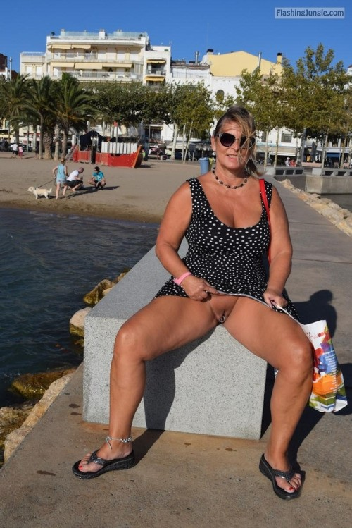 Chubby slutwife at vacation: anklet, sunglasses pussy flash public flashing no panties milf pics howife