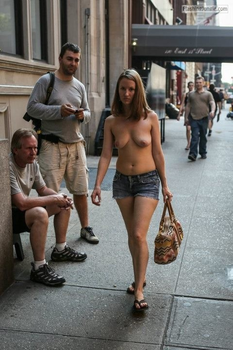 Casual topless walk voyeur public nudity public flashing boobs flash bitch