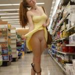 Very cute ginger girl in yellow dress