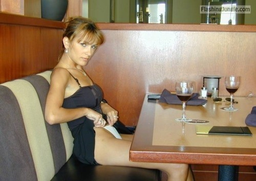 Pantie flashing in restaurant upskirt bitch