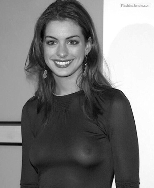 Celebrity nude: Ann Hathaway tits see through blouse voyeur boobs flash