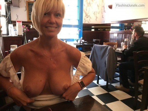 Blonde wifey excited while public flashing milf pics boobs flash