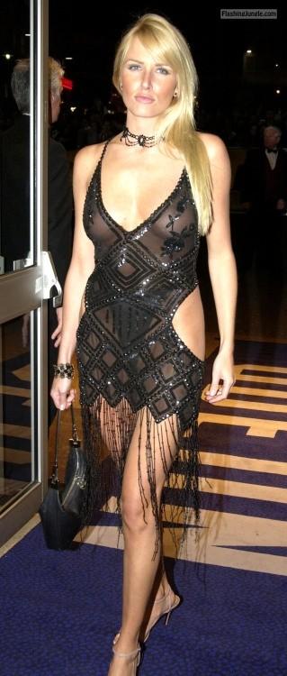 Blonde in elegant black skimpy night dress see through voyeur boobs flash