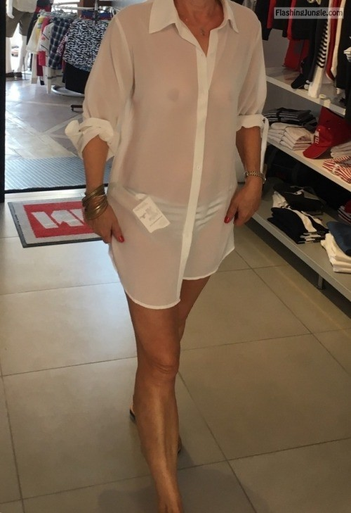 Trying out white see through shirt no bra flashing store boobs flash
