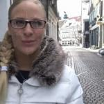Public street cumwalk: Cute blonde with glasses