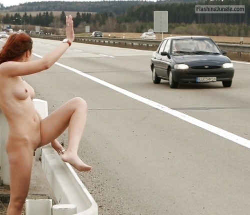 Naked redhead public highway waving strangers public nudity