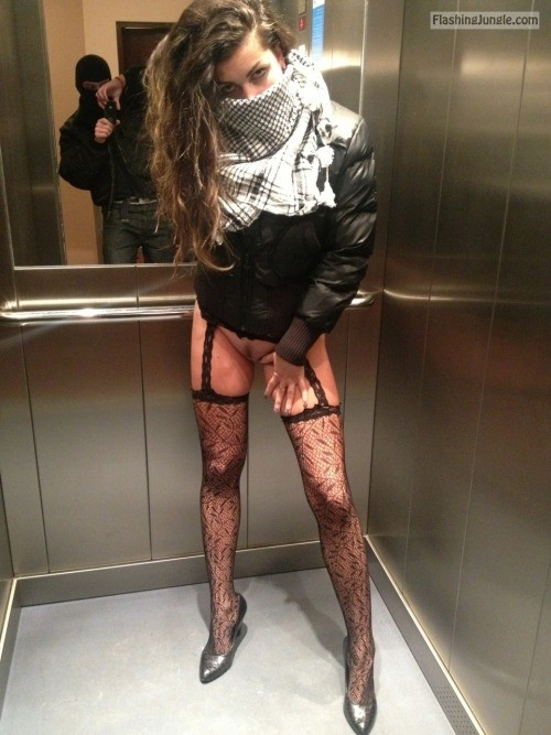 Flashing in elevator: Pantyless GF heel and stockings pussy flash public flashing no panties bitch