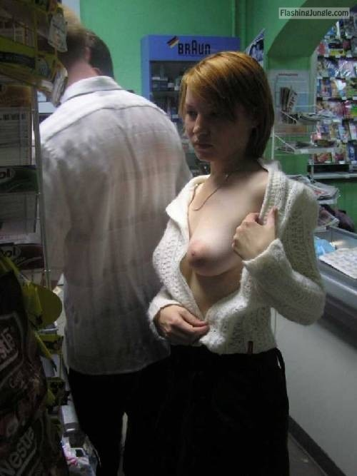 Pale juicy boob out public flashing flashing store boobs flash