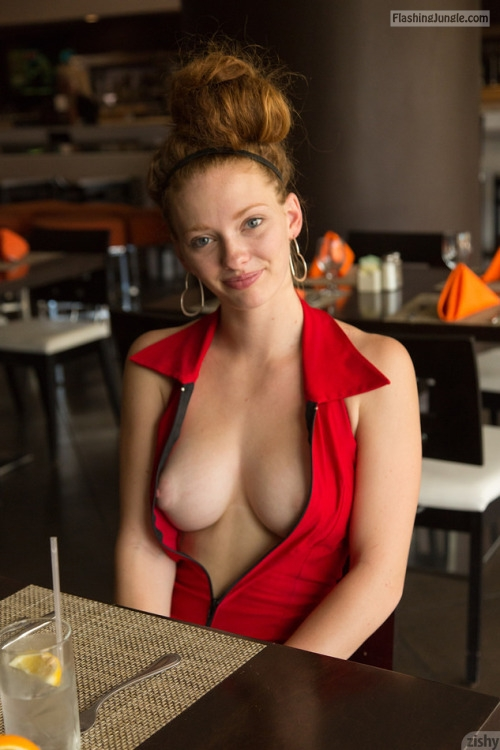 No bra redhead Wendy Patton Zishy Model at restaurant public flashing boobs flash
