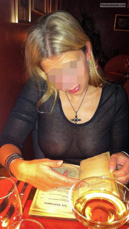 My gorgeous wifey without bra in see through blouse public flashing milf pics boobs flash