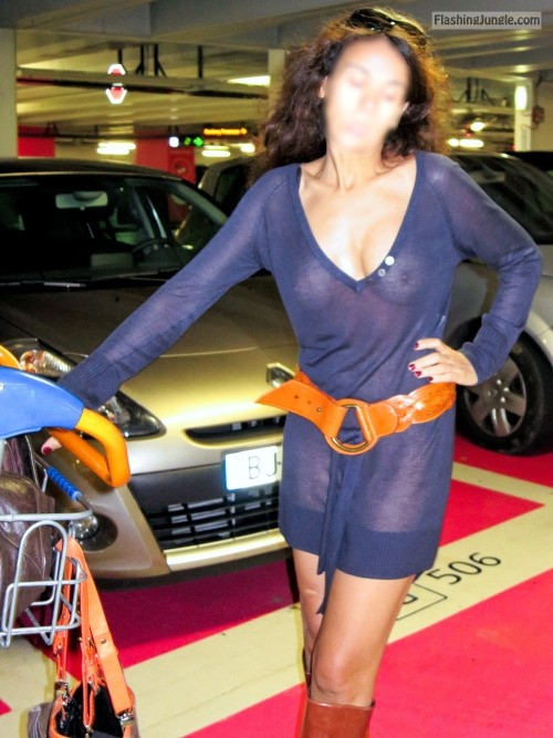 Wifey in blue see through dress on underwear at parking garage public flashing milf pics howife boobs flash