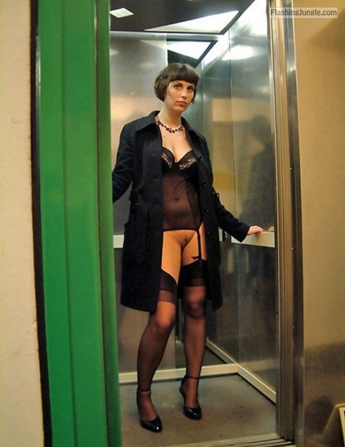 Pantieless in elevator: black sexy underwear under black coat pussy flash public flashing no panties bitch