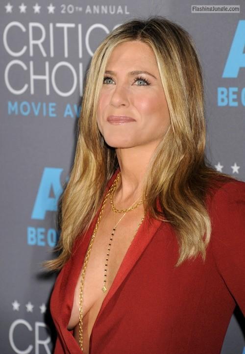 Jennifer Aniston no bra sideboob in red dress voyeur boobs flash