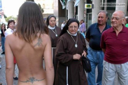 Nuns reaction on naked girl on the street public nudity